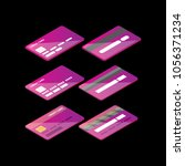 isometric credit card icon set... | Shutterstock .eps vector #1056371234