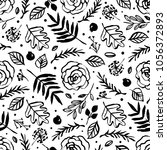 botanical seamless pattern with ... | Shutterstock .eps vector #1056372893