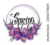 crocus flower wreath isolated... | Shutterstock .eps vector #1056374834
