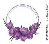 crocus flower wreath isolated... | Shutterstock .eps vector #1056375134