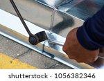 zinc gutter welding by using...   Shutterstock . vector #1056382346