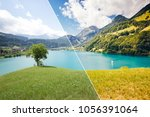 great panorama of the town... | Shutterstock . vector #1056391064