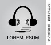 logo earphones and plug  audio... | Shutterstock .eps vector #1056391103