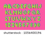pixel retro video game font. 80'... | Shutterstock .eps vector #1056400196