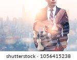 the double exposure image of... | Shutterstock . vector #1056415238