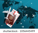 world travel concept. vector... | Shutterstock .eps vector #1056445499