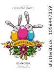 design of happy easter poster ... | Shutterstock .eps vector #1056447359
