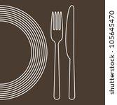 plate  knife and fork | Shutterstock .eps vector #105645470