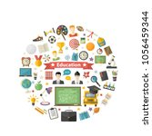 education icon set in circle in ... | Shutterstock .eps vector #1056459344
