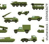 Seamless pattern with military transport on white background - tank, artillery tractor, rocket launching system. Backdrop with combat vehicles of various types. Realistic vector illustration.