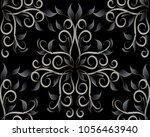 dark black floral 3d seamless...   Shutterstock .eps vector #1056463940