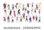 crowd of young men and women... | Shutterstock .eps vector #1056463943