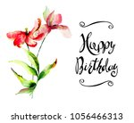 tulip and lily flowers with... | Shutterstock . vector #1056466313