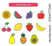 fruits icons set. food  fresh ... | Shutterstock .eps vector #1056477260