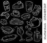 white food doodles on black... | Shutterstock .eps vector #1056489269