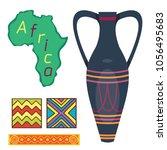 african vase culture ethnic art ... | Shutterstock .eps vector #1056495683
