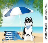 huskies a dog on the beach.... | Shutterstock .eps vector #1056500753
