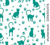 seamless pattern with cats and... | Shutterstock .eps vector #1056501476