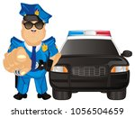 happy policeman and his car | Shutterstock . vector #1056504659