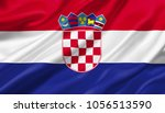 croatia flag waving with the... | Shutterstock . vector #1056513590