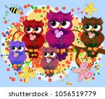 a family of colorful  bright ... | Shutterstock .eps vector #1056519779