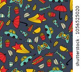 cute seamless pattern with hand ... | Shutterstock .eps vector #1056525020