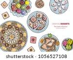 oriental sweets vector... | Shutterstock .eps vector #1056527108