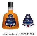 premium alcohol label  silver... | Shutterstock .eps vector #1056541634