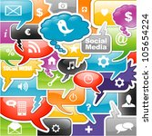social media icons bubble for... | Shutterstock .eps vector #105654224
