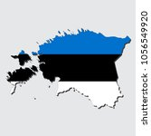map of estonia with flag ... | Shutterstock .eps vector #1056549920