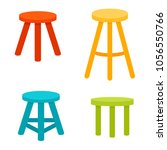 three legged stool set. vector... | Shutterstock .eps vector #1056550766