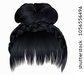 bun with plait and fringe. ... | Shutterstock .eps vector #1056556496