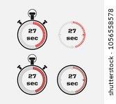 timer 27 seconds on gray... | Shutterstock .eps vector #1056558578