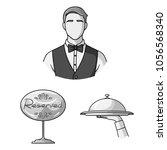 restaurant and bar monochrome... | Shutterstock .eps vector #1056568340