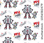 seamless pattern  father and... | Shutterstock .eps vector #1056582479