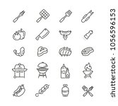barbecue related icons  thin... | Shutterstock .eps vector #1056596153