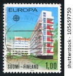 Small photo of FINLAND - CIRCA 1978: stamp printed by Finland, shows Paimio Sanitarium by Alvar Aalto, circa 1978