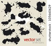 big set of ink stains | Shutterstock .eps vector #105660629