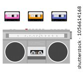 retro outdated portable stereo...   Shutterstock .eps vector #1056614168