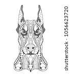doberman pinshcer dog zentangle ... | Shutterstock .eps vector #1056623720