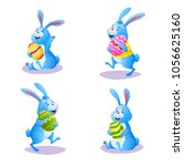happy blue bunny collection... | Shutterstock .eps vector #1056625160