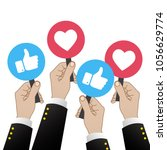 vector 3d thumb up blue icons... | Shutterstock .eps vector #1056629774