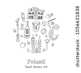 poland hand drawn doodle set.... | Shutterstock .eps vector #1056631838