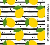 seamless pattern with lemons.... | Shutterstock .eps vector #1056638228
