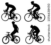 set silhouette of a cyclist... | Shutterstock .eps vector #1056638450