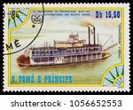 """Small photo of Moscow, Russia - March 28, 2018: A stamp printed in Sao Tome and Principe shows old paddle-steamer """"Chaperon"""" (1884), series, circa 1984"""