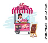 candy cart with cute seller.... | Shutterstock .eps vector #1056656036