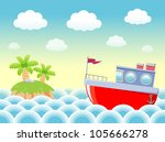 Boat in sea - stock vector