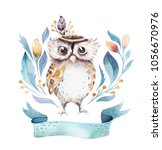 cute bohemian baby owl animals... | Shutterstock . vector #1056670976
