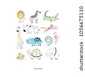 decorative safari animals set | Shutterstock .eps vector #1056675110